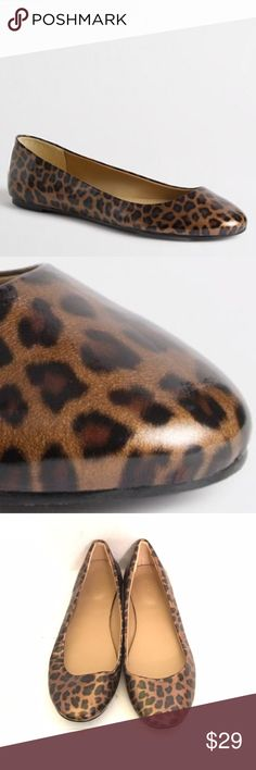 J. Crew Patent Tortoise Leopard Ballet Flats Gently worn just 2 times.  Man-made upper, lining and sole. Looks brand new , even the soles are like new. So chic and comfy. J. Crew Shoes Flats & Loafers