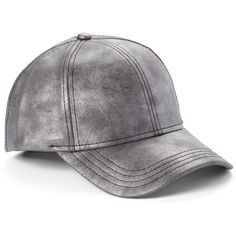 Cheveux Corp. Dark Gray Faux Leather Baseball Cap ($15) ❤ liked on Polyvore featuring accessories, hats, faux leather baseball hat, adjustable baseball caps, baseball cap hats, adjustable baseball hats and velcro hat