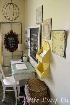 Think I might paint our mail organizer yellow. This is cute.