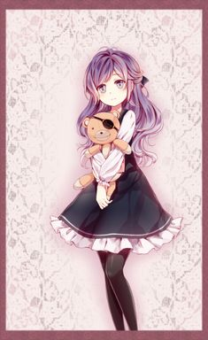1girl absurdres black_dress black_legwear border bow diabolik_lovers dress eyepatch hair_bow highres holding holding_stuffed_animal long_hair pantyhose purple_hair sakamaki_kanato solo stuffed_animal stuffed_toy tamagoyaki_(megane-daisuki) teddy_bear violet_eyes