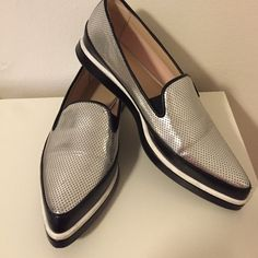 Fun metallic slip ons Super trendy metallic slip ons with pointy toe! They are super in right now and go with anything but especially denim. Run a half size up so 5.5. Singaporean brand Charles and Keith Charles & Keith Shoes Sneakers