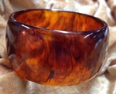 Wide Bakelite Ice Tea Bangle Ice Tea Marble Dome Bracelet - Simichrome Tested by…