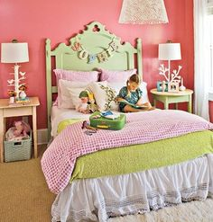 Pink and Green@myhomeideas. Madelon has a vintage headboard similar to this... I love the name swag here... must do!