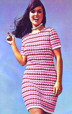 Vintage Crochet PDF Shift Dress Pattern Bust 33-39 ins 70's Reproduction Instant Digital ePattern Download