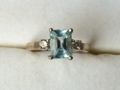 Vintage Aquamarine Ring in a 14k Yellow by ScotchStreetVintage
