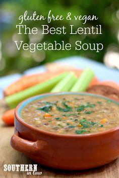 The Best Hearty Lentil Vegetable Soup Recipe. Warm, comforting and the perfect way to get in extra veggies, this soup recipe is a family favorite and so easy to make. It is also gluten free, vegan, vegetarian, tomato free, nut free, sugar free, a clean eating recipe and the perfect meal prep recipe as it can be made in advance and placed into the freezer to freeze in individual portions.