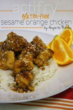 * ActiFry - Gluten-Free Sesame Orange Chicken from Anyonita Nibbles Air Fry Recipes, Dairy Free Recipes, Vegetarian Recipes, Cooking Recipes, Healthy Recipes, Gf Recipes, Healthy Foods, Recipies, Tefal Actifry