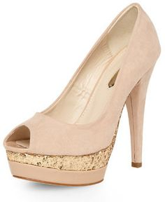 Dorothy Perkins Nude Glitter Peep Toe Court #Wedding #weddingshoes