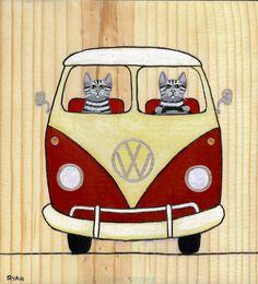 Rouge et crème VW Bus Cat Folk Art peinture originale