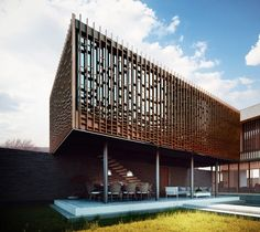 Rendering on Behance Timber Architecture, Concept Architecture, Architecture Design, Wooden Facade, Wooden Screen, Facade Design, House Design, Timber Screens, Green Facade