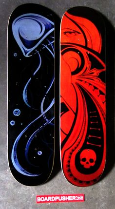 """Today we have a couple of Featured Decks designed by Noah Mott. """"Charon"""" and a former THI3D THURSDAY contest entry """"Queen of Spades"""" See what else Noah is up to at www.nineofhearts.ca. tattoo tattoos  www.BoardPusher.com"""