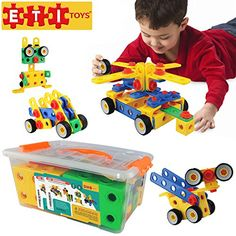 ETI Toys -92 Piece Educational Construction Engineering Building Blocks Set for 3, 4 and 5  Year Old Boys & Girls. Pure Engaging Fun & STEM Learning Kit! The Best Toy Gift for Kids Ages 3yr - 6 yr. ** You can find more details by visiting the image link.