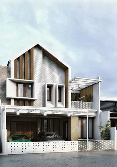 Modernistic-This house has a pointy top, horizontal lines along the house, and shapes all over the house. This house is soon to be popular, making our generation more modern. Arch House, House Roof, Facade House, Building Exterior, Building Design, Building A House, Facade Architecture, Residential Architecture, Facade Design