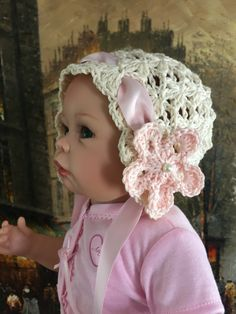 Delicate Baby Girl bonnet, handmade crochet hat, Newborn photo shoot prop by LaceyRoseKnits on Etsy https://www.etsy.com/ca/listing/470761383/delicate-baby-girl-bonnet-handmade