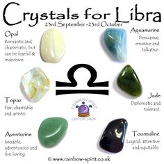 Crystal set of birthstones for October and the zodiac star sign Libra, made by Rainbow Spirit Crystal Shop