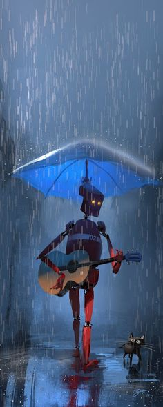 """Guitar Hero"" by Goro Fujita, I love the setting of this piece, the rain and the cast shadow under the robot makes this art. Animation, Character Concept, Concept Art, Lapin Art, Arte Robot, Illustration Artists, Sci Fi Art, Dreamworks, Amazing Art"