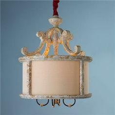 Distressed White 4 Light Pendant with Shade, shades of light $819