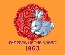 The Year of the Hare  According to the Chinese Zodiac, 1963 was the Year of the Hare (or Rabbit). Other Years in the Rabbit cycle: 1915, 1927, 1939, 1951, 1975, 1987 and 1999...