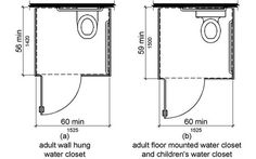 diagram of a two toilet stalls with different door ...