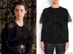 """In the episode 3x06 (""""Fight or Flight"""") Queen Mary wears this Givenchy Jersey-Crepeand Ruffled Point d'Esprit Top in black ($1,700).Worn with the Reign Costumes custom skirt, Blank via Anthropologie belt, vintage 1980′s earrings from Magwood Boutique, Gillian Steinhardtlabyrinth and signet rings."""