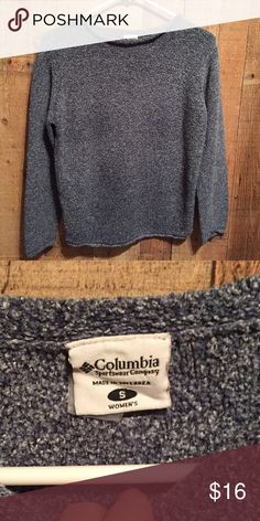 """COLUMBIA Sweater sz S Mottled blue color sweater by Columbia Sportswear Co.  Rolled hem, neckline and cuffs.  Size small, measures 17"""" across x 22"""" long.  47% acrylic, 31% cotton, 22% poly.  No tears, stains, etc. Columbia Sweaters Crew & Scoop Necks"""