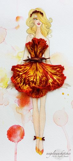 Flower fashion illustration I made :D I hope you guys like it! Made with real flowers and paint :D