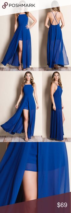 "Royal Blue Crossback Maxi Romper Royal blue Crossback Maxi Romper. This is an actual pic of the item. All stock photography done personally by me. ABSOLUTELY NO TRADES DO NOT ASK.   Runs small at the bust  • Liz is wearing the size small • 5'9"" Bust 32 inches Waist 25 inches Hips 36 inches Bare Anthology Dresses Maxi"