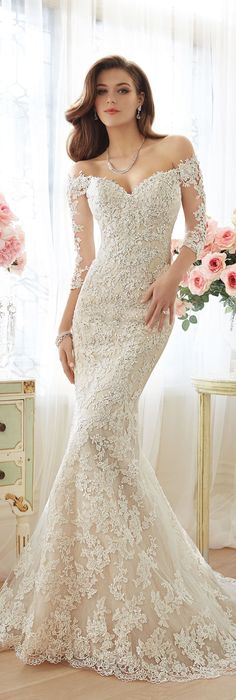 The Sophia Tolli Spring 2016 Wedding Dress Collection - Style No. Y11632 - Riona #laceweddingdresswithsleeves Vivienne Necklace www.davidtuteraembellish.com