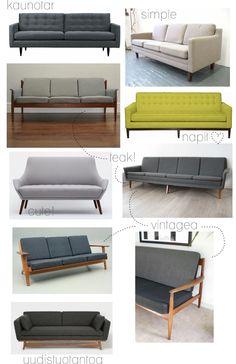 50-luvun ja 60-luvun sohvat