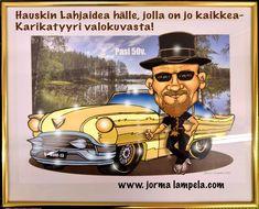 50vuotislahjaksi, syntymäpäivälahjaksi, lahjaksi miehelle, 60v lahjaksi, Hauska lahja, Syntymäpäivälahja, 40v, 50v, 60v Autoileva lahja Cadillac, Ralli, Lahjaksi rallikuskille, American car show, Karikatyyri motoristeille, Karikatyyri 200e!