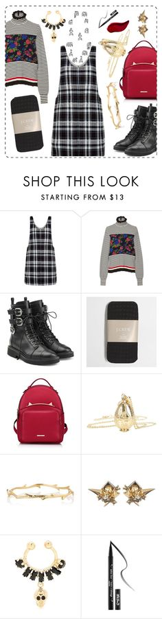 """""""Pattern Mixing - Plaid Pinafore and Striped Jumper"""" by crazyboo123 on Polyvore featuring New Look, MSGM, Giuseppe Zanotti, J.Crew, WithChic, Alexis Bittar, Givenchy and Kat Von D"""