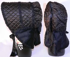 antique Civil war mourning bonnet | ... Civil War Era 1860s Black Silk Quilted Winter Mourning Sun Bonnet Hat