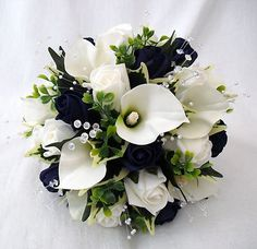 navy flowers | WEDDING FLOWERS BOUQUETS - BRIDE BRIDESMAIDS POSY CALA LILIES & NAVY ...