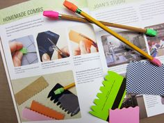 Gelli Printing with DIY Combs! Using combs ranks among my favorite methods for creating patterns and mark-making in monoprinting. In fact, I've included several examples in my new book, Gelli Plate Printing, demonstrating how to make your own combs. Key Crafts, Gelli Plate Printing, Gelli Arts, Plate Art, Homemade Crafts, Mark Making, Elementary Art, Altered Art, Art Lessons
