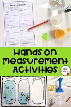 This blog post has a variety of hands on measurement activities that  will keep students engaged in their learning. These hands on non  standard measurement activities involve learning to measure length,  capacity and mass. Use these fun ideas in your math lessons to teach  whole class concepts and use the activities as rotations, stations,  centers and more! Includes a hands on worksheet that is FREE. Activities  are suitable for preschool, Kindergarten, Prep and first grade. {prek,  1st Capacity Activities, Measurement Activities, Math Measurement, Phonics Activities, Free Activities, Hands On Activities, Math Resources, Preschool Science, Science For Kids