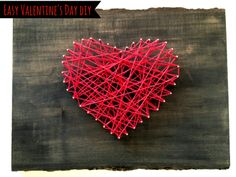 I made this simple Valentine's Day String Wall Art for my sweetie and took some pics along the way to share. Quick, easy and handmade from the heart.) Also fun for kids, if your little one loves tools like mine does. Crafts For Kids To Make, Fun Crafts, Arts And Crafts, Valentines For Kids, Valentine Crafts, Saint Valentin Diy, String Wall Art, Diy Simple, Art Diy