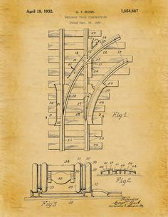 Patent 1932 Railroad Tracks Patent Art by BlueMoonPatentPrints
