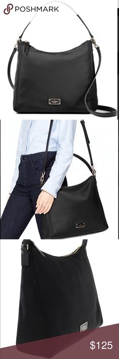 """Kate Spade Blake Avenue Justyne Nylon Bag New authentic Kate Spade Bag. Perfect size to hold all your everyday essentials SIZE 11.6""""h x 12.4""""w x 3.54""""d Crossbody strap drop length: 22"""" Total strap length: 18.5"""""""" MATERIAL: Nylon with pvc trim capital kate jacquard lining DETAILS: Over the shoulder bag with zip top closure Removable and adjustable shoulder strap Interior zipper and dual slide pocket printed Kate Spade new York license plate Color: Black kate spade Bags Shoulder Bags"""