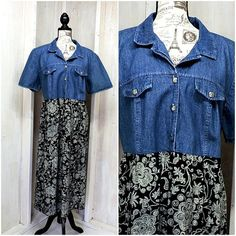 bd94d36601 Denim floral dress   plus size 1X   2X   18   20   vintage 80s