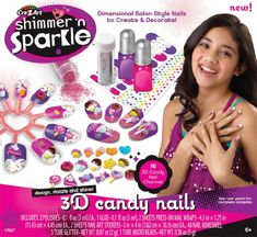 Cra Z Art Shimmer N Sparkle Candy Nails - Children love these activities from Cra-Z-Art. (by www.in)Shimmer & Sparkle Candy Nails, Multi Color - Cra-Z-Art's Shimmer Sparkle candy nails let you apply dimensional salon style n Hello Kitty Jewelry, Diy Crafts For Girls, Barbie Cake, Nail Candy, Z Arts, Nail Art Stickers, Nail Decals, Salon Style, Toys For Girls