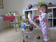Cutest little shopper ever -- putting her Melissa & Doug shopping cart to good use! Available here --> http://www.melissaanddoug.com/real-metal-toy-grocery-shopping-cart