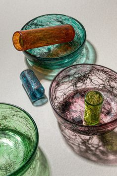 Beirut design studio T Sakhi combined Venetian Murano glass with recycled metal threads and powder to create this textured glassware collection. Venetian Glass, Murano Glass, Architectural Digest, Mug Design, Inspiration Design, Dezeen, Organic Shapes, Decoration, Recycling