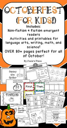 Over 100 pages of activities PERFECT for ALL OF OCTOBER! Non-fiction and fiction emergent readers, activities for language arts, math, writing, science and more! Click for a FREEBIE! Pre K-1st.