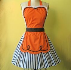 Thanksgiving apron womens apron Orange and by loverdoversclothing, $29.99