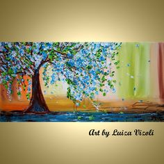 Items similar to Embellished Giclee Canvas Spring Tree FloralLimited Edition Print of Original Painting NEW LIFE Art by Luiza Vizoli on Etsy Great Paintings, Colorful Paintings, Original Paintings, Abstract Paintings, Landscape Paintings, Modern Art For Sale, Canvas Art, Canvas Prints, Canvas Ideas