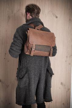 Brown men's retro satchel bag. student backpack for men, School bag, leather bag, gift for him, laptop bag, messenger bag, office briefcase. $350.00, via Etsy.