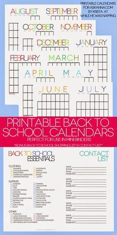 Back to School Printable Calendars