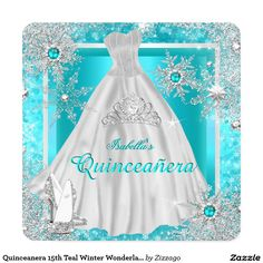 Shop Quinceanera Teal Winter Wonderland Snowflakes Invitation created by Zizzago. Snowflake Invitations, Snowflake Cards, Invitation Paper, Snowflakes, Party Invitations, Quinceanera Invitations, Quinceanera Dresses, Quinceanera Ideas, Spa Birthday Parties