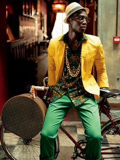 For Men: The Bike Suit african mens fashion editorial Fashion Art, Fashion Mode, Fashion Shoot, Mens Fashion, Bike Fashion, Fashion Menswear, Fashion For Man, African Inspired Fashion, African Print Fashion