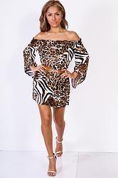 Leopard Off Shoulder Sleeve Retro Party Mini Dress